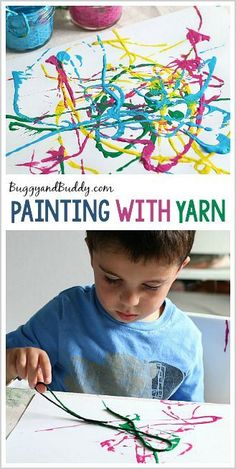Here's another fun and easy process art project for preschoolers- painting with yarn or string. My kids loved exploring all the designs they could create using yarn as their painting tool!