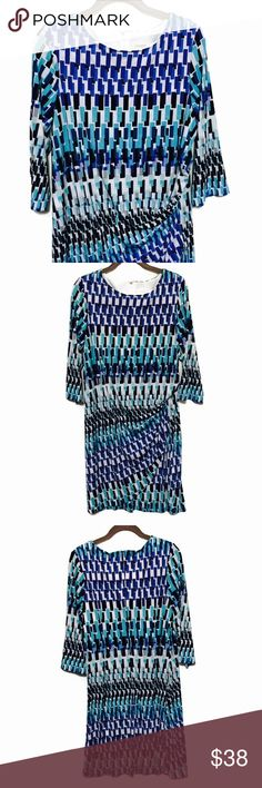 Chico's graphic print dress Size on tag is 2.5, the chart above is from Chico's website and shows what this is equivalent to. EUC, bundle and save 💙 Chico's Dresses Midi