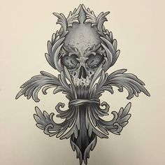 """""""Fleur de Lis Skull"""" 9""""x12"""" High Quality GICLEE print. On heavy watercolor cold press paper. Check out our website to purchase! www.SpaceTigerTattoos.com"""