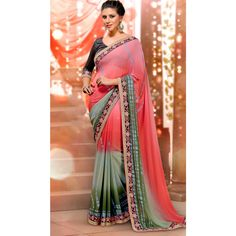 Pink and Green Georgette #Indian #Saree With #Blouse #Clothing