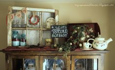 Winter Vignette - Decorate your mantel or top of your hutch on the cheap!