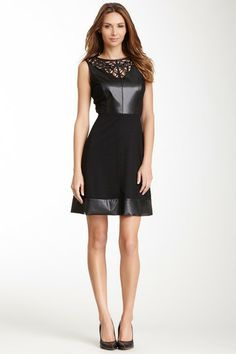 Donna Morgan Laser Cutout Faux Leather Panel Dress by Non Specific on @HauteLook