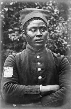 A French Senegalese soldier at the Cottbus POW Camp in Sielow, Germany