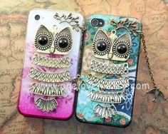 Owl iphone caseowl on the branch with bird floral by OneLoveLi, $12.99
