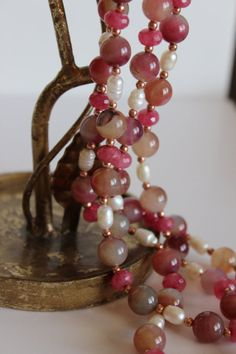 Pink Agate Quartz and Freshwater Pearl Necklace by RedHatGirl, $58.00