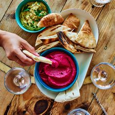 BEET HUMMUS - This gorgeous magenta beet lover's dip is all beet, with seasonings, spices and tahini, but no chickpeas. Get the recipe from Food & Wine. Beet Recipes, Wine Recipes, Cooking Recipes, Tahini, Beet Hummus, Hummus Food, A Food, Food And Drink, Dips Food