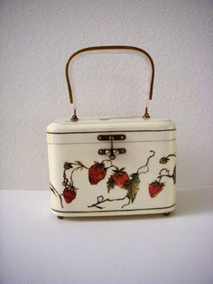 Cute strawberry covered vintage lucite box purse