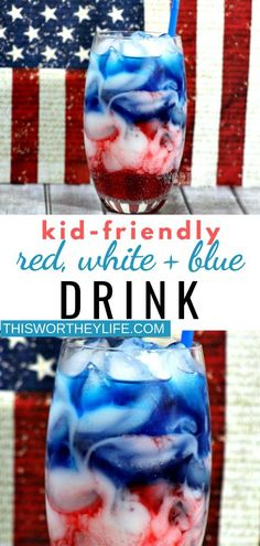 Our Captain America Kids Drink celebrate red white and blue drink is easy to make and perfect for the kids to drink it. With two patriotic holidays coming up Memorial Day and of July layering red white and blue colors is a fun drink for a summer party! Blue Drinks, Kid Drinks, Party Drinks, Non Alcoholic Drinks 4th Of July, Beverages, Summer Drinks Kids, Rainbow Drinks, Colorful Drinks, Drinks Alcohol