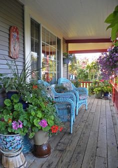 Bright blue painted wicker porch furniture shabby cottage country