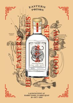 Eastern Poison Gin packaging design and branding together with a launch set of publications that include a poison book on mixing drinks as well as a guide to the concept and ingredients in the gin. Chinese Design, Asian Design, Japanese Design, Design Typography, Graphic Design Posters, Graphic Design Inspiration, Poster Designs, Dm Poster, City Poster