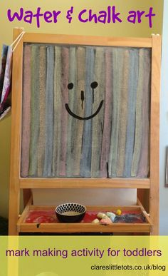 Water and chalk art. Mark making activity for toddlers. Easy to set up simple play idea.
