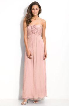 Amsale Rosette Trim Strapless Chiffon Gown in Blush @ Nordstrom