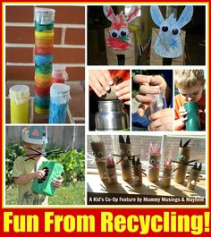 Fun & Creativity with Recycling - A Kids Co-Op Feature! 5 Easy projects with materials from the recycle bin!