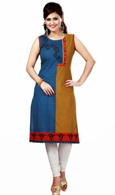 Designer blue and orange cotton tunic is perfect for any evening party. Tunic is embellished with half n half with silk thread embroidered floral design, beads and paisley design in the hem which gives you an elegant look. #StylishClassicalKurtis