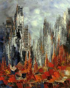 City Painting Palette Knife Original Cityscape Skyline Waterfront Montreal Urban Handmade - by Tatiana Iliina - READY-to-SHIP