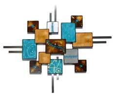HUGE Turquoise & Brown Textured Geometric Wooden Abstract