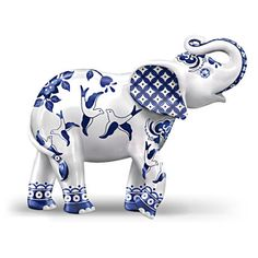 Blue Willow patterned elephant figurine