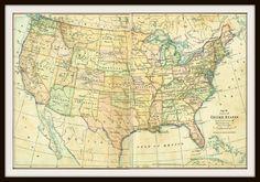 http://usa.mycityportal.net - Antique 1940 United States Map by KnickofTime on Etsy