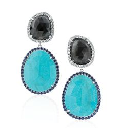 London blue topaz and turquoise #earrings from @RinaLimor