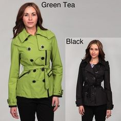 @Overstock - Slide into this stylish, double-breasted Miss Sixty asymmetrical trench coat and cinch the belt for a sleek look that stands up to the weather. Fully hooded and lined, this stunning trench coat comes in either bright green or classic black.http://www.overstock.com/Clothing-Shoes/Miss-Sixty-Womens-Double-Breasted-Asymmetrical-Zip-Trench-Coat/6362717/product.html?CID=214117 $32.99