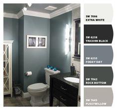I really like this dark blue/gray color Benjamin Moore Smokestack Gray. @ DIY Home Design.maybe for the kids/guest bathroom Bathroom Renos, Grey Bathrooms, Bathroom Ideas, Downstairs Bathroom, Serene Bathroom, Design Bathroom, Bathroom Interior, Bathroom Inspiration, Paint Bathroom