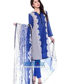Blue Lawn Dress By Nishat Linen Spring Summer Collection 2015
