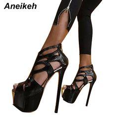 Cheap Aneikeh Nuove Pompe Sexy Peep Toe 16 CM Piattaforma Alta Sandali  Stivali Fashion PU Pelle Discoteche Scarpe Nero Taglia 34 40 9966 68   3742104c827