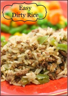 Easy Dirty Rice is on the table in less than 30 minutes and the taste will be a HUGE hit! Easy Dirty Rice is on the table in less than 30 minutes and the taste will be a HUGE hit! Beef Dishes, Rice Dishes, Food Dishes, Couscous, Cajun Recipes, Cooking Recipes, Healthy Recipes, Stevia Recipes, Healthy Rice