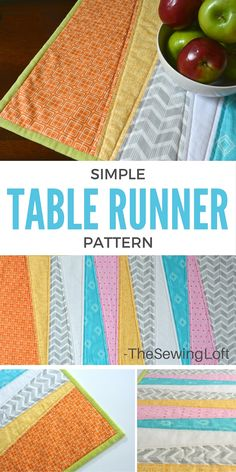 Simple Table Runner DIY - The Sewing Loft Thanks to the easy make pattern from The Sewing Loft, I wa Scrap Fabric Projects, Fabric Scraps, Quilting Projects, Sewing Projects, Quilting Ideas, Quilting Board, Table Runner And Placemats, Table Runner Pattern, Quilted Table Runners