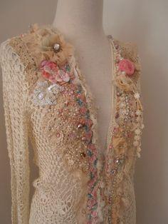 cream ivory upcycled crocheted cardigan shabby chic by RawHemline