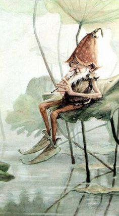 Playing a tune for the fish in hopes that they will swim into his fishnet.   Jean-Baptiste Monge