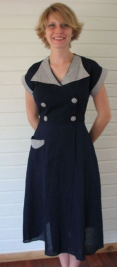 nautical day dress with striped details | via Graceful Antiques and Vintage Collectibles shop