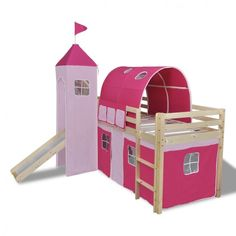 Childrens Loft Bed Slide Ladder Castle Themed Pink Tent Bunk Wooden Bedroom Home #ChildrensLoftBed