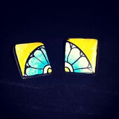 Hand painted #terracotta square studs