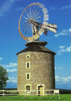 Windmill from 1873 with unique halladay's wind turbine, Ruprechtov, South Moravia, Czech Republic Tilting At Windmills, Old Windmills, Country Barns, Old Barns, Moulin France, Farm Windmill, Vive Le Vent, Blowin' In The Wind, Prague