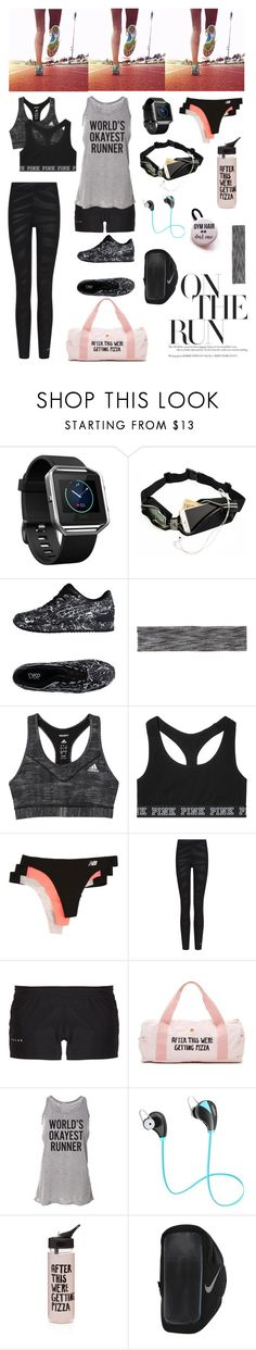 """Running Essentials"" by ariazul ❤ liked on Polyvore featuring Fitbit, Asics Tiger, Victoria Sport, adidas, Victoria's Secret, New Balance, Falke, ban.do and NIKE"