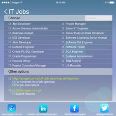 Job openings in IT as of November 29, 2013.  Visit http://sysgen.com.ph/it-job-openings-philippines/ for job descriptions, and a complete list job openings.