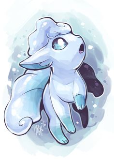 Alolan Vulpix homework break/cooldown painting! GOLLY, IT'S RELEASE DAY OF POKEMON SUN AND MOON!! Can't wait to grab my copy of Moon later today! :D