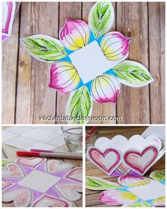 How to Make a Paper Basket- Three Easy Templates – The Kitchen Table Classroom Make a paper basket using one of these three free basket templates. Print a blank heart, geometric, or floral shape to color and fold into a DIY paper basket! Diy Arts And Crafts, Diy Crafts For Kids, Handmade Crafts, Art For Kids, Handmade Soaps, Handmade Headbands, Handmade Rugs, Paper Art, Paper Crafts