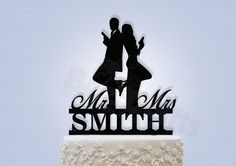 Mr and Mrs Smith Cake Topper by Bee3DGifts on Etsy