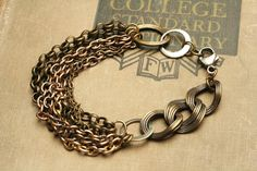Mixed Metal Bracelet Chain Linked Bracelet Multi Chain Bracelet Steampunk Jewelry