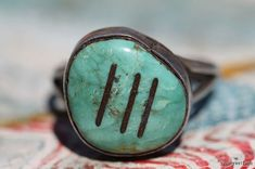 Vintage Southwestern Tribal Zuni Style Sterling Silver and Turquoise Ring
