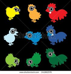 Vector cartoon chicks, chickens and roosters