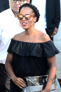 Kerry Washington offered a chic preemptive strike against summer frizz with a sleek crown braid, off-the-shoulder top and pregnancy glow.