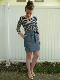 the summery stripes, the chambray skirt with a giant bow ... warm weather, please come to seattle soon!