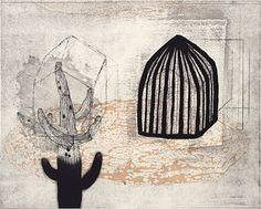 Akiko Taniguchi. Cage 2, 2007. Etching, mezzotint, drypoint, engraving, chine colle. Edition of 15. 12 x 15 inches.