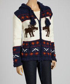 White & Mustard Moose Wool-Blend Zip-Up Hoodie