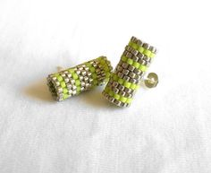Hey, I found this really awesome Etsy listing at https://www.etsy.com/listing/188925061/beaded-stud-earrings-lime-green-silver