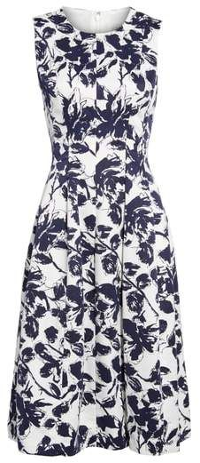 367c96f283a Eliza J Floral Print Faille Midi Dress. Inky illustrations put a  contemporary spin on this
