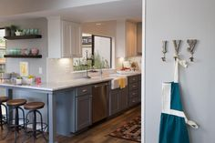 trendy Ideas for breakfast bar kitchen wall fixer upper Kitchen Bar Counter, Kitchen Wrap, Stools For Kitchen Island, Breakfast Bar Kitchen, Kitchen Redo, Kitchen Countertops, New Kitchen, Kitchen Remodel, Kitchen Design